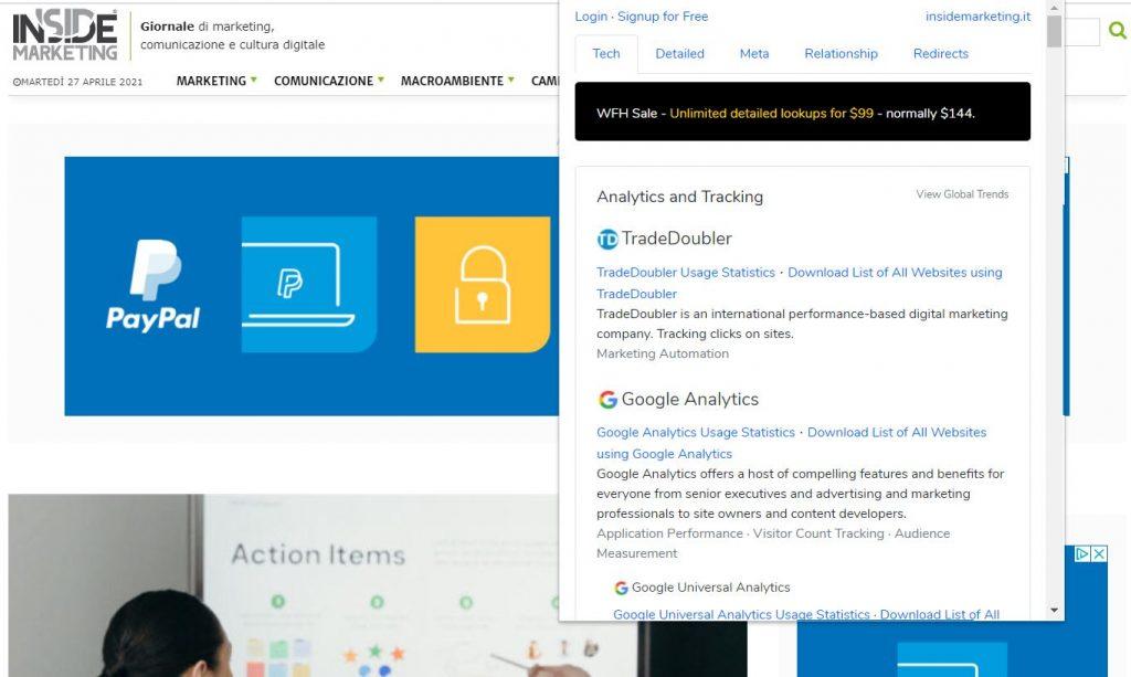 tools gratuiti per l'analisi della concorrenza - Builtwith