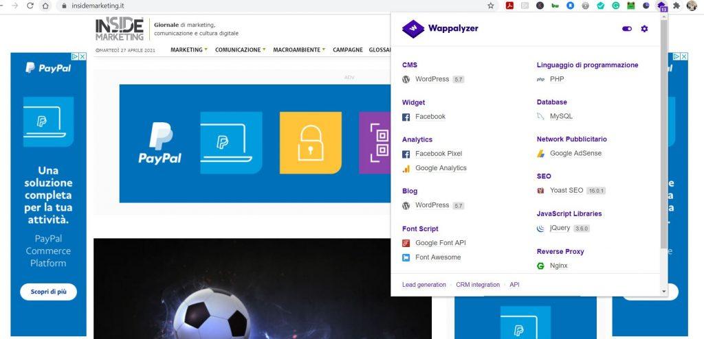 tools gratuiti per l'analisi della concorrenza- Wappalyzer